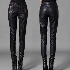 free women pencil pants zipper pockets women leather pants lady motorcycle riding pants asia tag size m 3xl in pants capris from women s clothing
