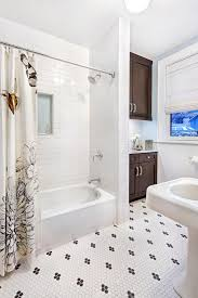 subway tile shower bathroom transitional with carrera marble black and white tile floor