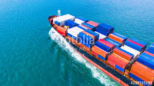 aerial view cargo container ship carrying container for import and export business logistic and freight