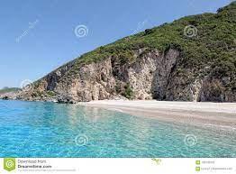 Paradise Beach Of Liapades At Corfu Island Greece. Sedimentary Stock Image  - Image of chomi, liapades: 123132353