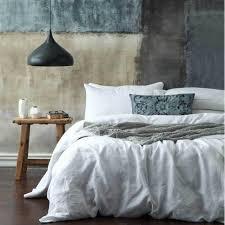 laundered linen duvet cover set white