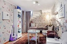White Girls Bedroom With Funky Butterfly Wallpaper And Vintage
