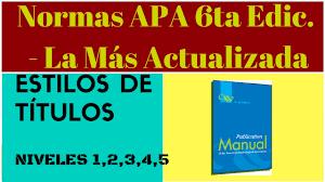 Niveles De Títulos En Normas Apa Sexta Edición 2019