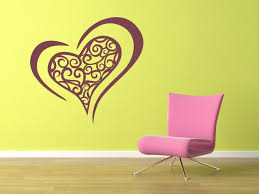 decorative double love heart wall stickers wall art decal transfers