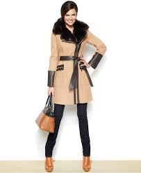 via spiga faux leather faux fur kate trench coat
