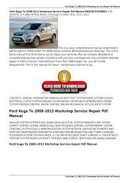 ford kuga te 2008 2013 workshop service repair pdf manual ford kuga te 2008 2013 workshop service repair pdf manual ford kuga te 2008