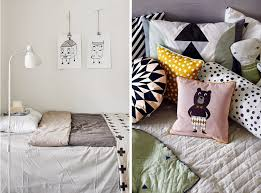 we ve opted for pretty plain bedding and some great printed cushions images left via here right