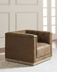 swivel accent chair. Jardene Tufted Leather Swivel Accent Chair V