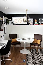office feature wall. Home Office, Feature Wall Sherwin Williams Tricorn Black With Benjamin Moore Cloud White. E-design And Colour Consulting Services Office A