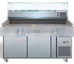 pz2600tn two door refrigerated pizza counter prep table with granite top and ing pan cooler countertop display showcase