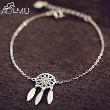 Dream Catcher Charm Bracelet Adorable AOMU New Fashion Silver Color Dreamcatcher Charm Bracelets For Women