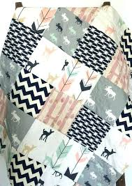 moose crib bedding themed baby quilt girl bow and arrow fawn woodland set nursery collection by trend
