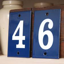 blue individual enamel house numbers with white numerals