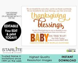 Print Baby Announcement Cards Editable Thanksgiving Pregnancy Announcement Instant