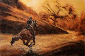 fine art rider original equine oil painting on canvas by artist darko topalski