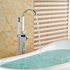 chrome brass free standing floor mounted bathtub faucet tub filler mixer1