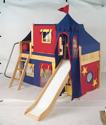Maxtrix Boys Castle Bed w Angled Ladder and Slide Blue Red