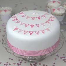 Girls Christening Cake Bunting Decoration Kit By Clever Little Cake