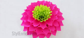 Dahlia Flower Making With Paper Diy Paper Flowers How To Make Paper Dahlia Flower