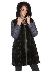 black mink fur jacket with hood real mink long jacket quilted sleeve sculptured