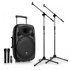 sound system with mic. streetstar 15 mobile pa system 2x microphone stands set 15\ sound with mic n
