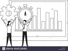 Business Couple And A Data Chart Black And White Stock