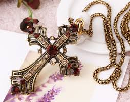 vintage full cubic zirconia cross pendant necklace long chain necklace sweater necklace 1 5