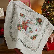 Bucilla Santa Christmas Lap Quilt - St&ed Cross Stitch 86687 ... & Santa Christmas Lap Quilt - Stamped Cross Stitch Adamdwight.com