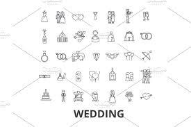 Wedding Invitation Bride Couple Rings Cake Groom Love Flowers Relations Line Icons Editable Strokes Flat Design Vector Illustration Symbol