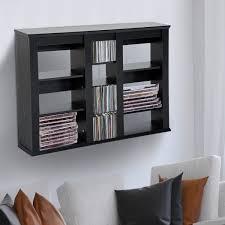 homcom triple wall mounted media storage floating cd dvd shelves rack hanging organizer unit black