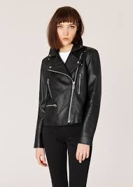 model front close up women s black leather biker jacket with zip pockets paul smith