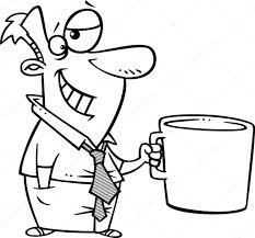 Vector Of A Cartoon Businessman Grinning And Holding A Giant Coffee
