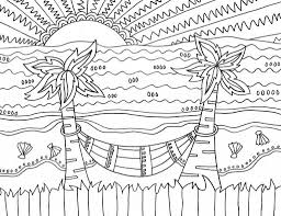 Coloring pages for toddlers, preschool and kindergarten. Printable Sunset Landscape Coloring Page For Both Aldults And Kids