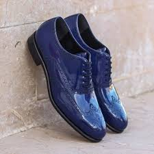 custom made wingtips in cobalt blue patent leather