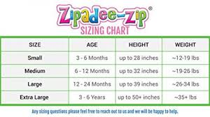 Zipadee Zip Size Chart Facebook Lay Chart