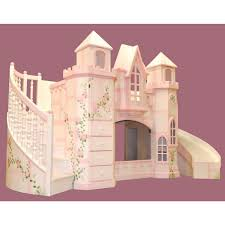 Fantastic Castle Loft Bed With Curved Stairs And Slide Plus Storage Unit  For Girls
