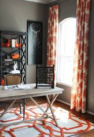 chic orange gray office design with gray walls paint color ballard designs ishing drifters giclee print rustic sawhorse desk black x back