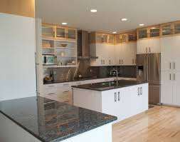 cream granite countertop classic dark cherry kitchen cabinet grey
