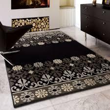 ina weaver da vinci crochet border black area rug