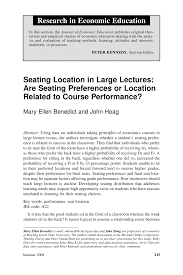 Pdf Seating Location In Large Lectures Are Seating