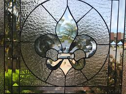 the galway classic fleur de lis stained glass window insert or cabinet insert