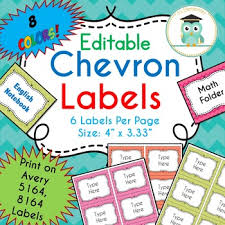 Avery 5164 Labels Chevron Labels Editable Classroom Notebook Folder Name Party Avery 5164 8164