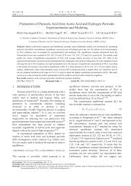 pdf preparation of peracetic acid from acetic acid and hydrogen peroxide experimentation and modeling