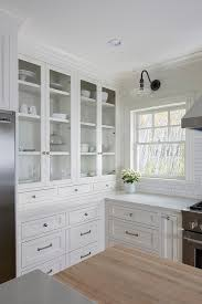 built in glass front kitchen hutch