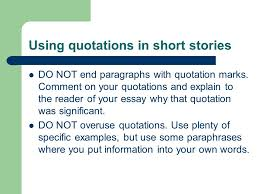 documentation fiction ppt  using quotations in short stories