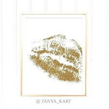gold lips wall art golden lips printable fashion print wall decor bedroom art print office decor