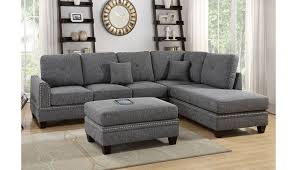 milano grey sectional with nailhead trim