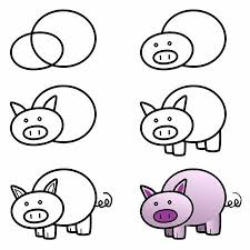 how to draw a pig quick draw