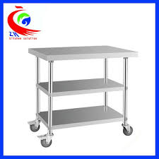 detachable 3 layer stainless steel work table with casters trolley images