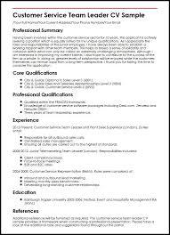 Qualifications For A Customer Service Representative Customer Service Team Leader Cv Sample Myperfectcv